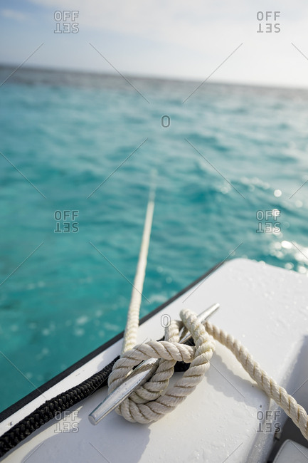 An anchor rope tied off in Grand Cayman