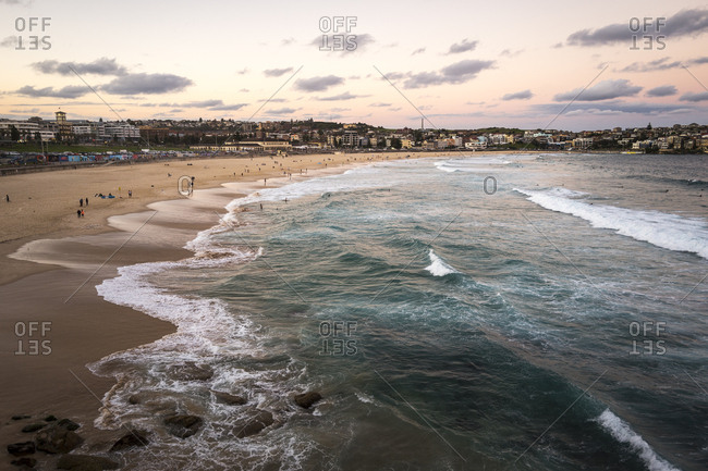 Sydney, Australia - May 21, 2017: Sunset at Bondi Beach