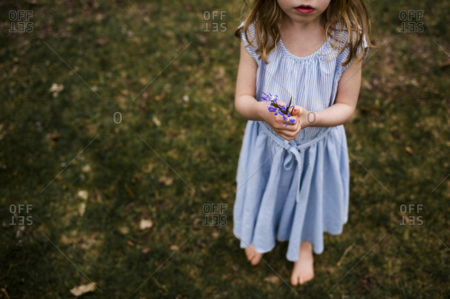 Low section of girl holding flowers while standing on grassy field at park