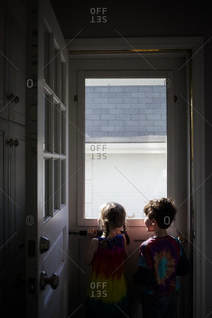 Rear view of siblings looking through window while standing at home