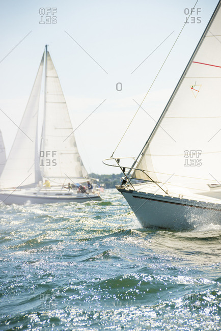 Sailboats sailing in sea against clear sky during regatta