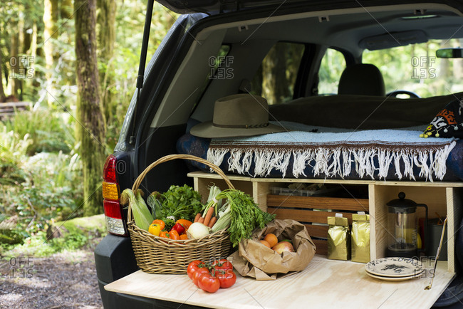 Vegetables in basket at car trunk of SUV
