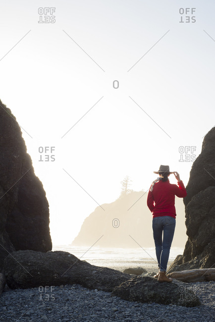 Rear view of hiker standing at Ruby Beach against clear sky