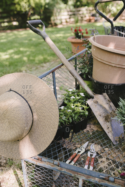 Sun hat with shovel and potted plants in garden wagon
