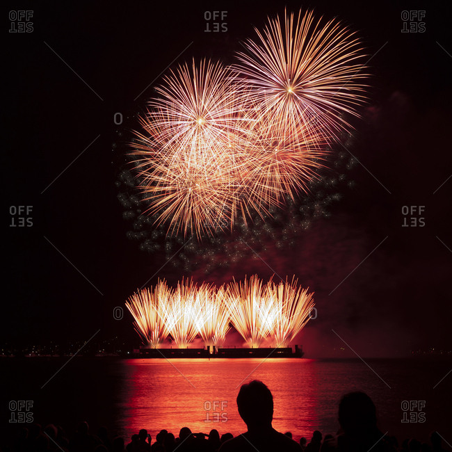 Silhouette people watching firework display over sea against sky at night