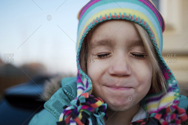 Close-up of girl with eyes closed