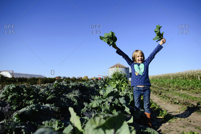 Portrait of happy girl holding leaf vegetables while standing on farm against clear sky during sunny day
