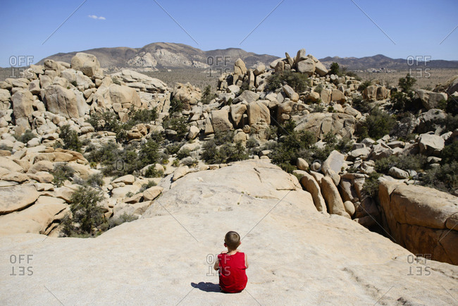 Rear view of boy looking at rock formations while sitting at Joshua Tree National Park against sky