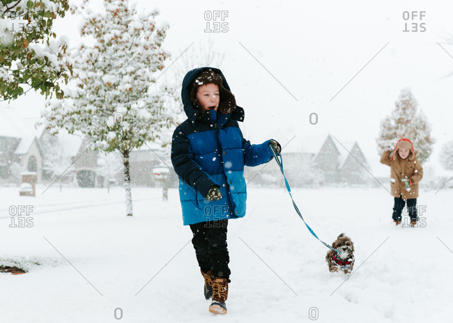 Boy with Shih Tzu walking on snow covered field while brother standing in background