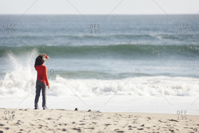 Rear view of boy standing at beach during sunny day