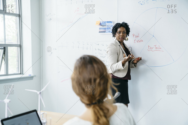 Businesswoman explaining colleagues while standing by whiteboard in office
