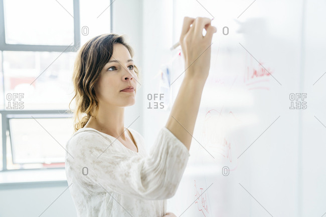 Side view of businesswoman writing on whiteboard