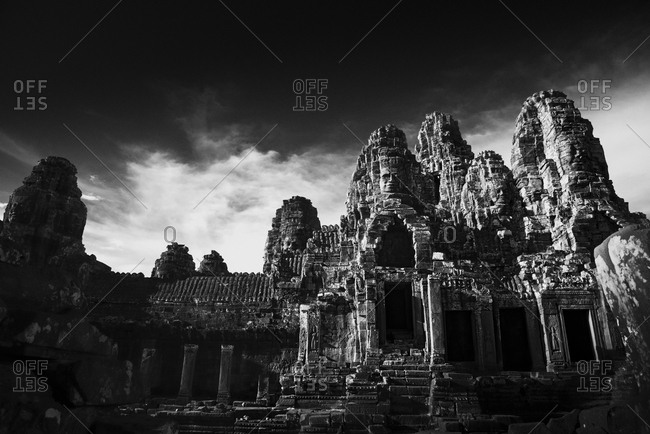 Sunset light over Prasat Bayon in Cambodia