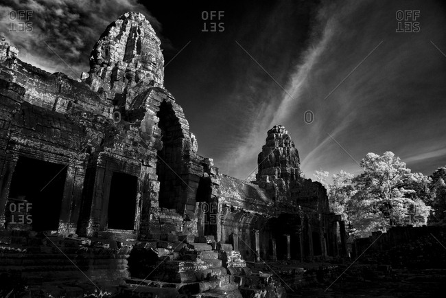 The entrance to Prasat Bayon in Angkor Thom, Cambodia