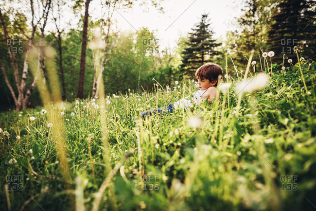 Young boy playing on grassy hill