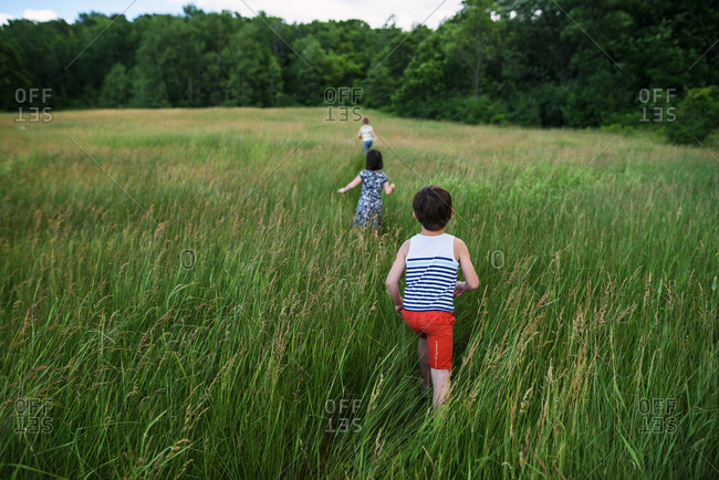 Three young children walking in a large field with blue sky and clouds