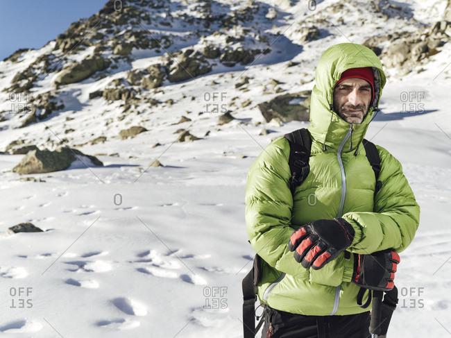 Alpinist envolved in Pe�alara, Madrid, Spain