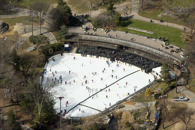 An aerial view of an ice skating rink