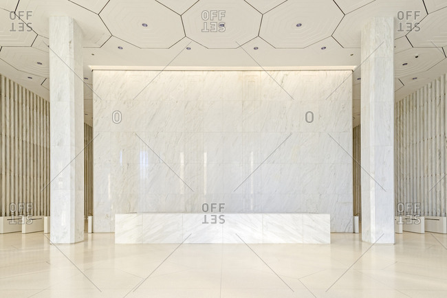 New York, New York - March 5, 2017: A marble lobby
