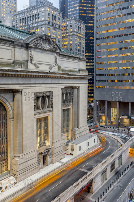 New York, New York - April 5, 2017: Taxis circle Grand Central Station