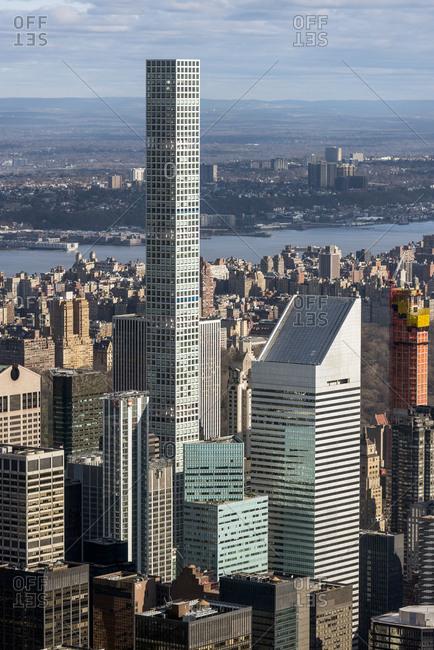 New York, New York - April 8, 2017: An aerial view of midtown Manhattan