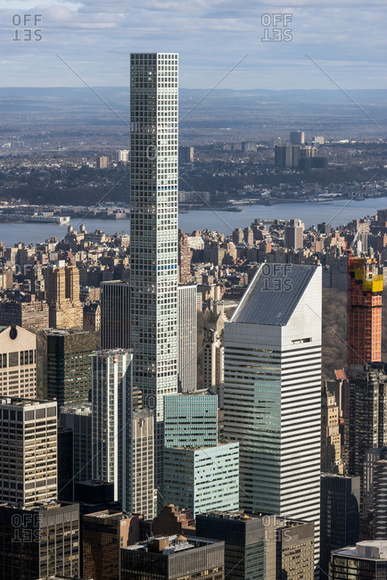 New York, New York - April 8, 2017: An aerial view of midtown Manhattan