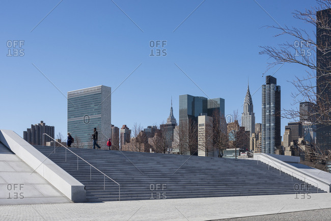 New York, New York - February 18, 2016: 4 Freedoms Park on Roosevelt Island in NYC