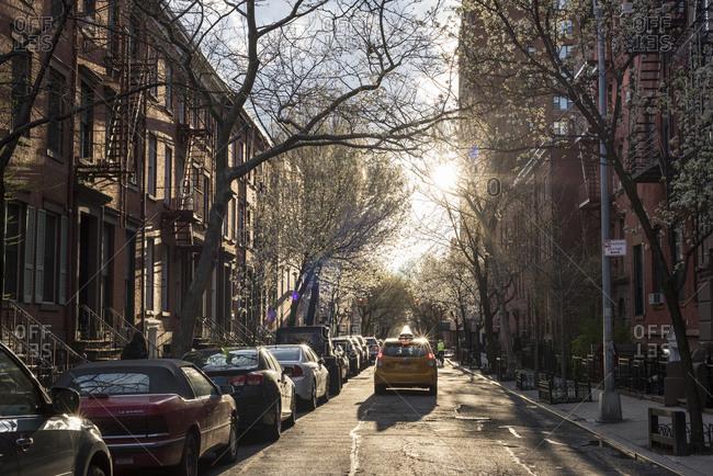 New York, New York - April 7, 2016: West village neighborhood of Manhattan in Spring