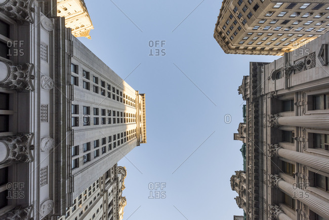 looking up at buildings in lower Manhattan