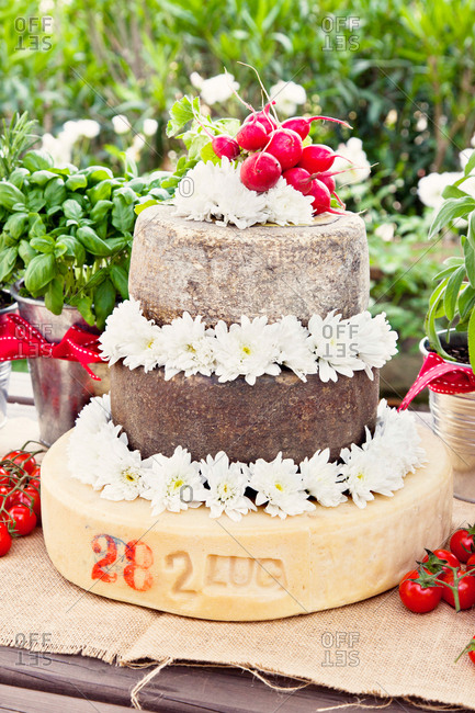 Cheese wheels in the shape of a wedding cake