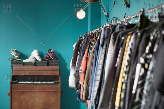 Rack of clothes and shoes
