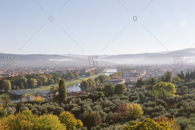View of Florence Italy at sunrise towards the valley