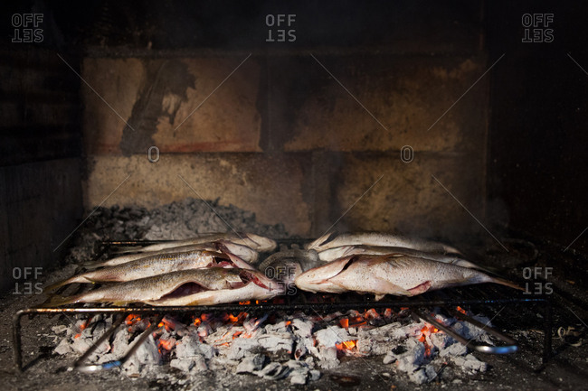 Whole fish on a metal rack roasting over hot coals