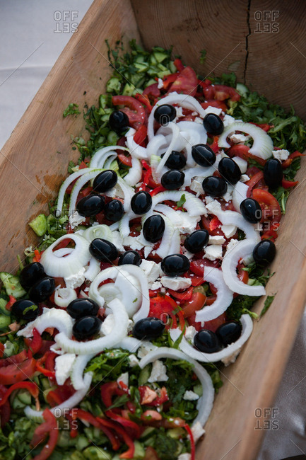 Traditional Cyprus salad of tomatoes, cucumbers, cheese, olives and onion
