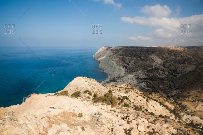 Coastline of white sand cliffs overlooking the Mediterranean Sea