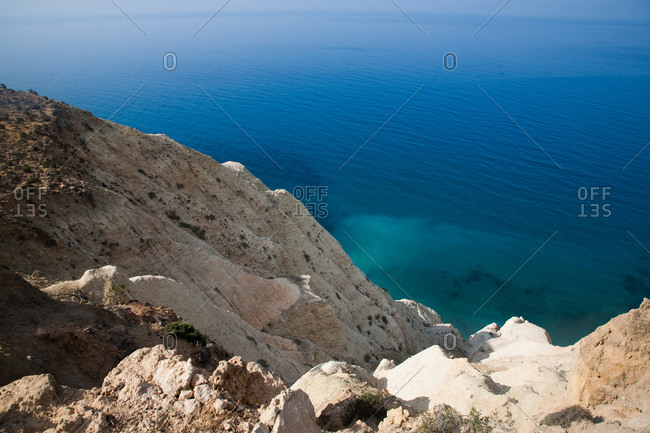 White sand cliffs overlooking the blue Mediterranean Sea in Cyprus
