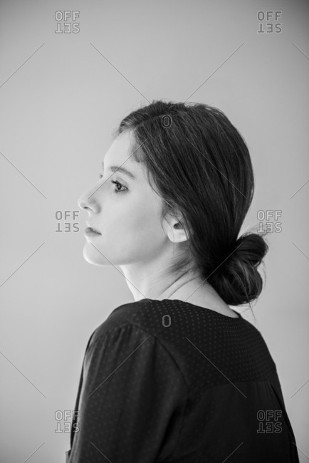 Profile of pensive Caucasian woman