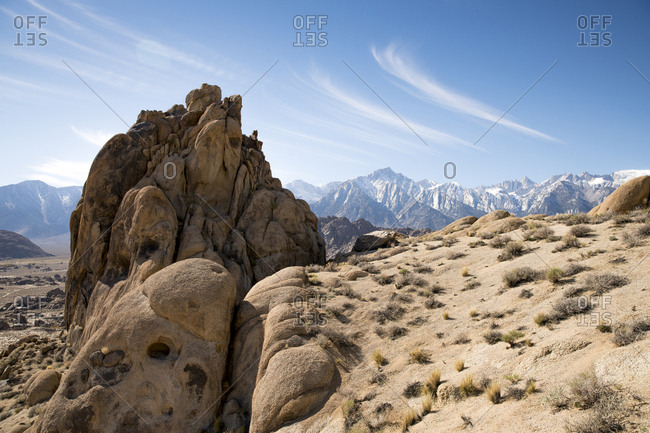 Rock formation in desert landscape