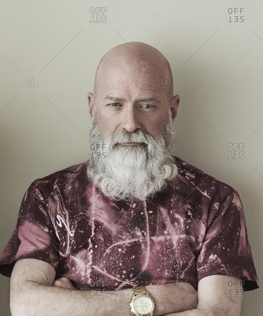Portrait of confident older Caucasian man with beard