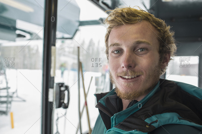 Portrait of smiling Caucasian man at winter resort