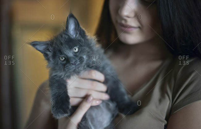 Caucasian woman holding cat