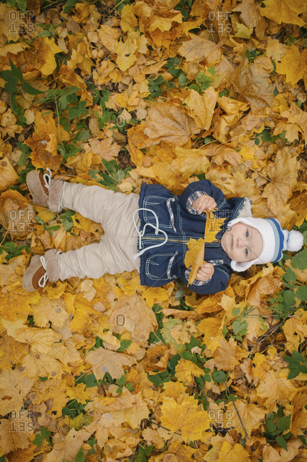 Middle Eastern baby boy laying in autumn leaves