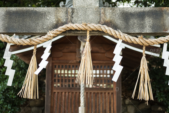 A rope outside Japanese shrine