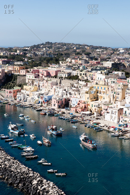View over town of Procida, Italy