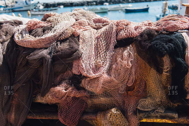 Netting by sea in Procida, Italy