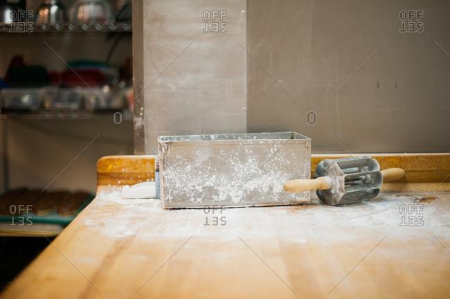 Donut making equipment in bakery