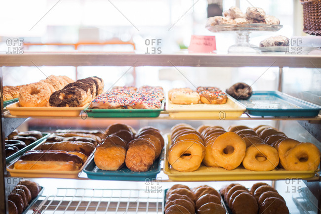 Donut varieties in display case