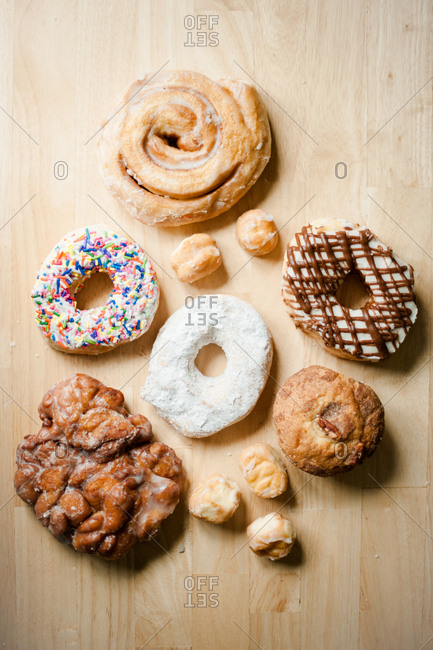 Assortment of doughnuts on table