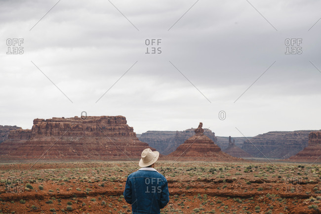 Rear view of young male tourist looking at stunning Monument Valley against sky