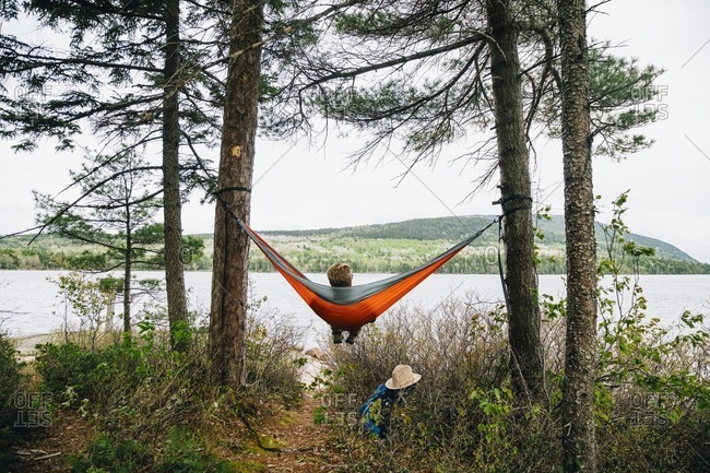 Rear view of young man relaxing on hammock by lake at Acadia National Park